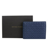 Bottega Veneta Bifold Wallet Blue Leather For Men