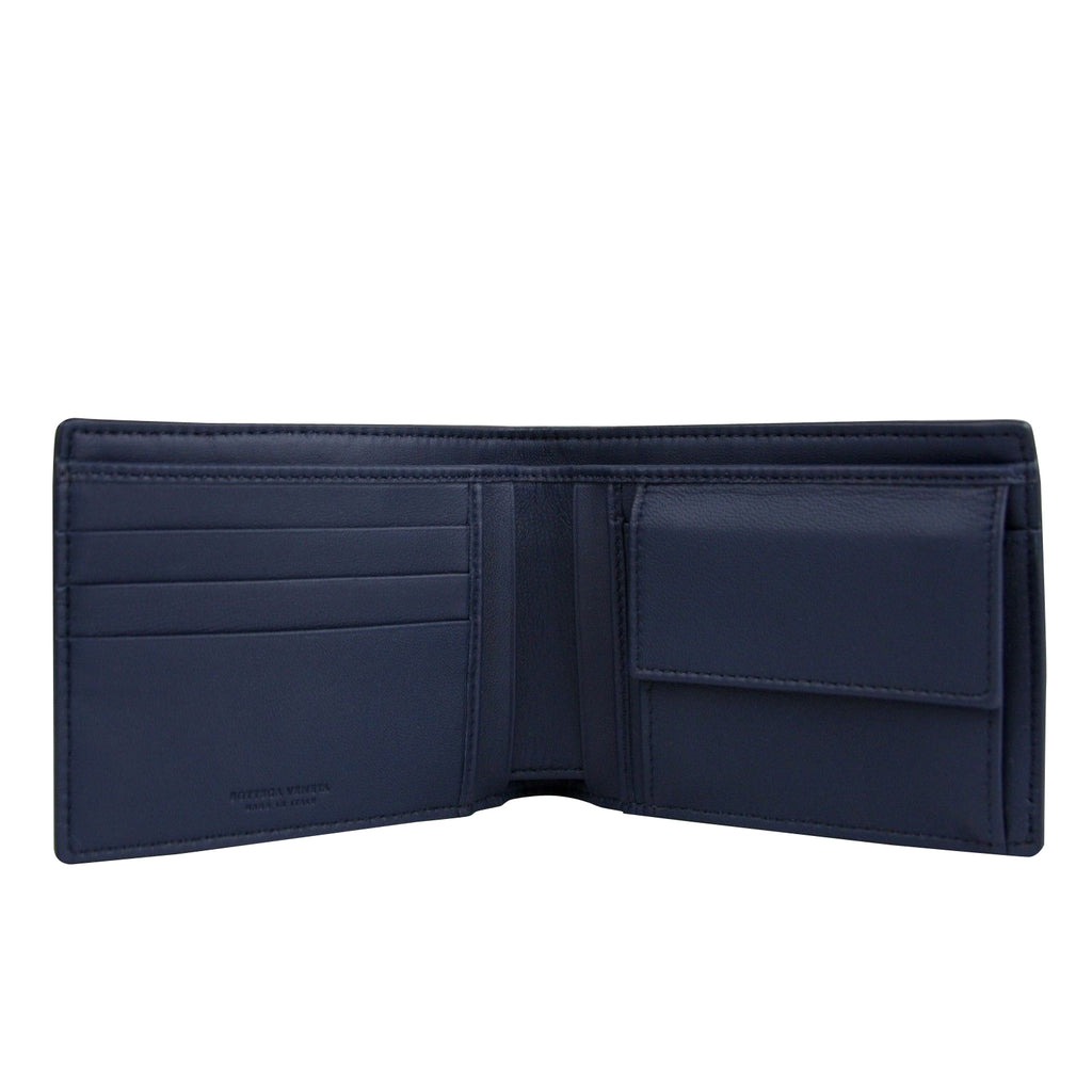 Bottega Veneta Bifold Wallet Blue Leather - 3 Card Slots