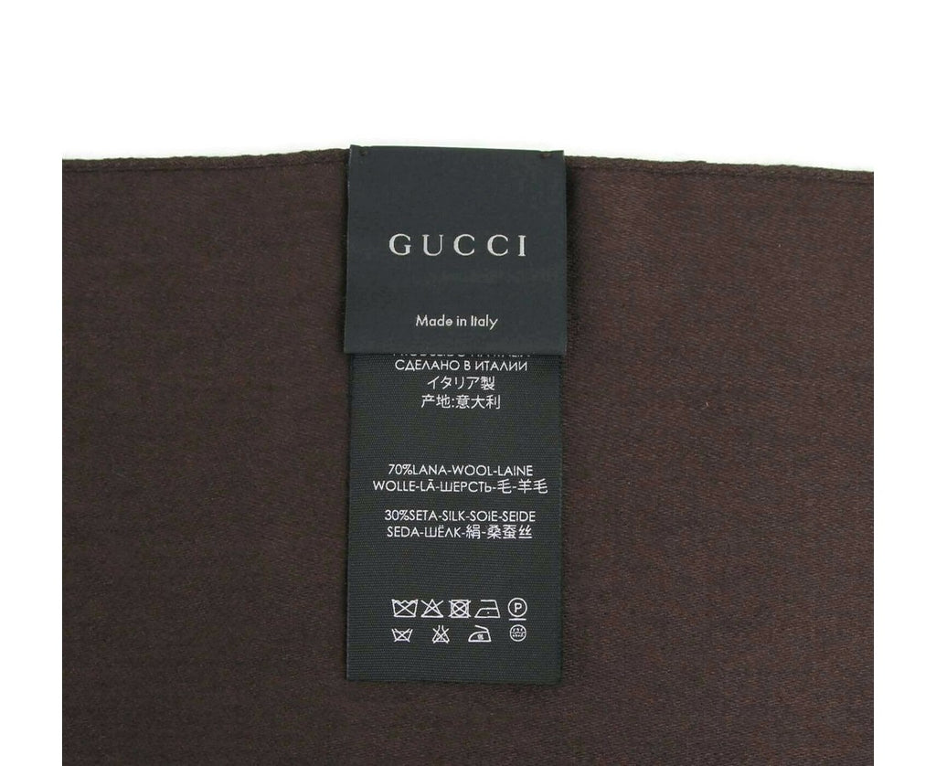 Gucci Unisex Coffee Brown Wool / Silk GG Print Scarf 165904 2000 - LUX LAIR