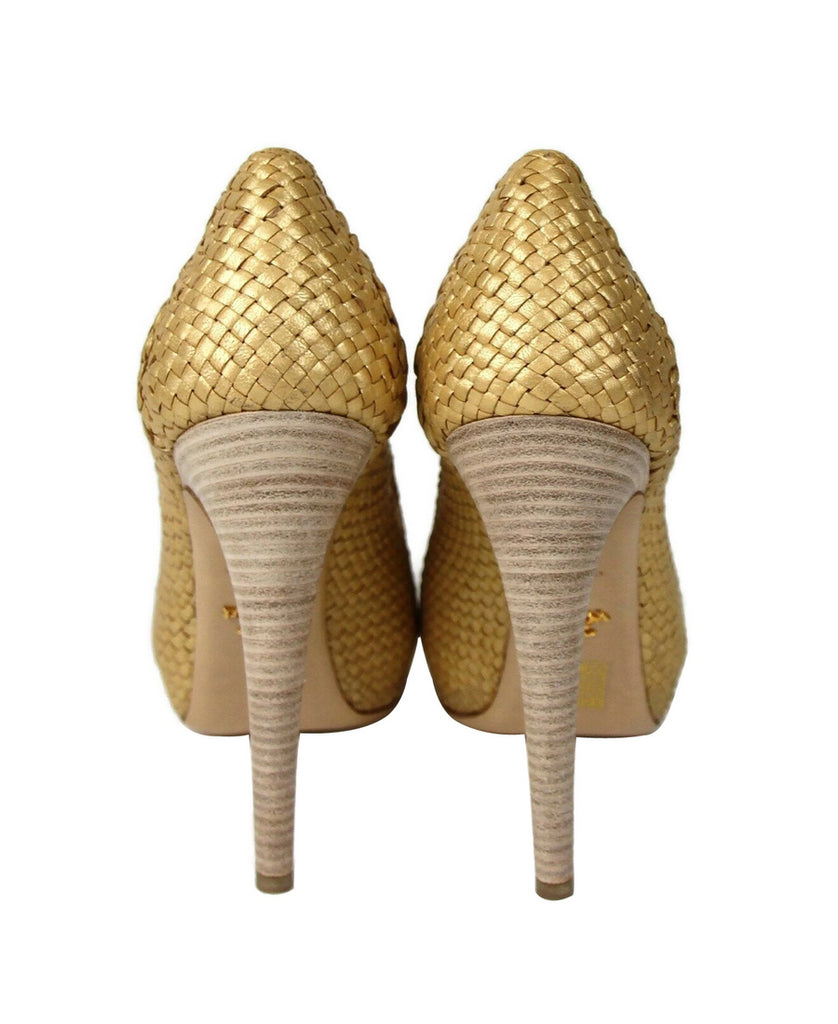 Prada Women's Gold Metallic Leather Woven Platform Heel 1IP063 (39 EU / 9 US) - LUX LAIR