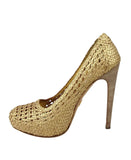 Prada Women's Gold Metallic Leather Woven Platform Heel 1IP064 (39.5 EU / 9.5 US)