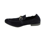 Salvatore Ferragamo Men's Celso Dark Blue Suede Stretch Horsebit Loafer 0689525 (7.5 EE) - LUX LAIR