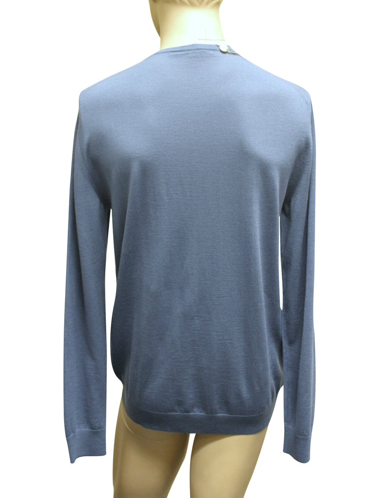 Gucci Men's Blue Extrafine Wool Sweater With GRG Web trim 232194
