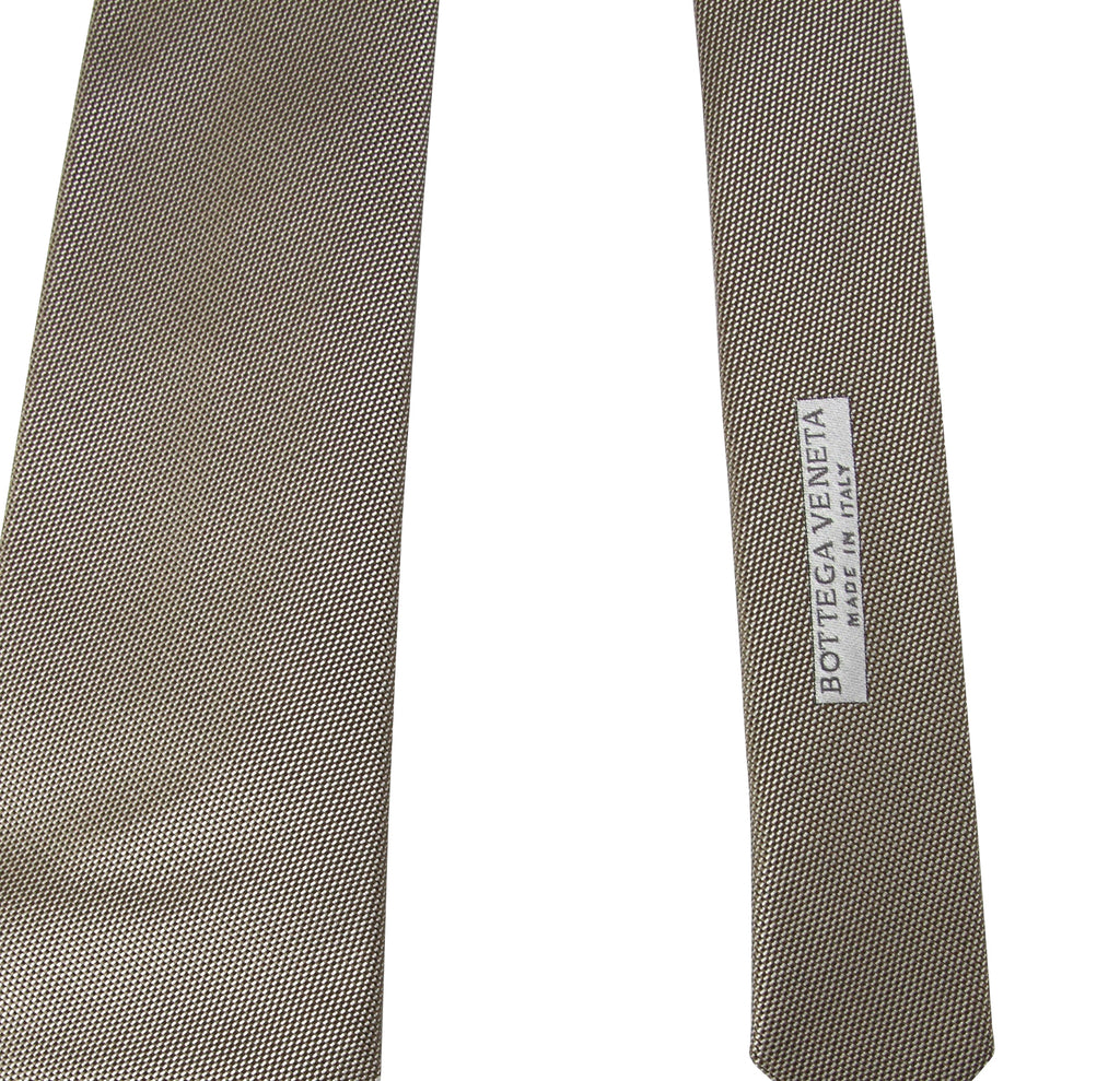 Bottega Veneta Tie Woven Beige Silk For Men - Bv Tag