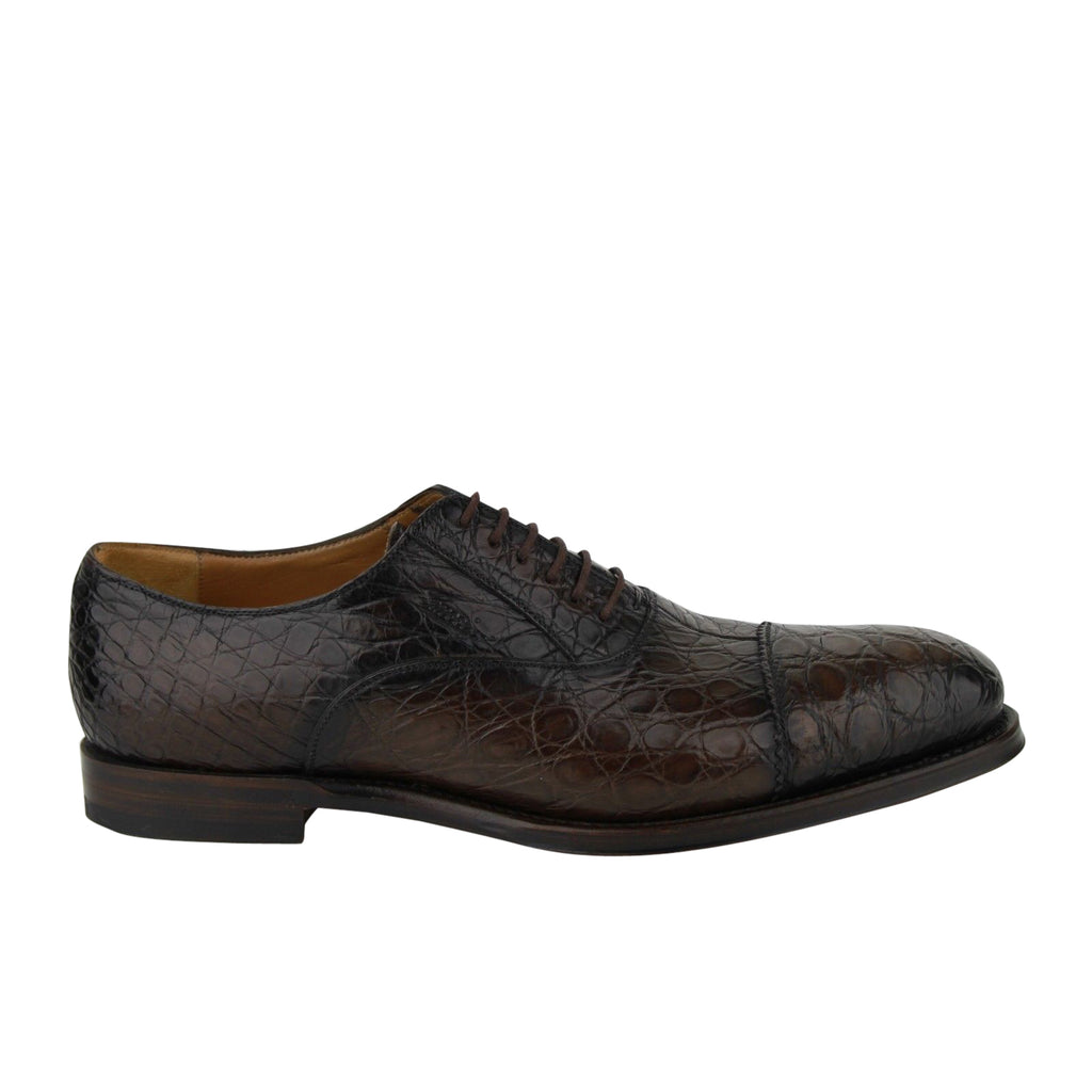 Gucci Oxford Brown Crocodile Leather Lace up Shoes 243813 2039 - LUX LAIR