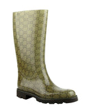 Gucci Women's Guccissima Pattern Light Brown Rubber Rain Boots 248516 8367 - LUX LAIR