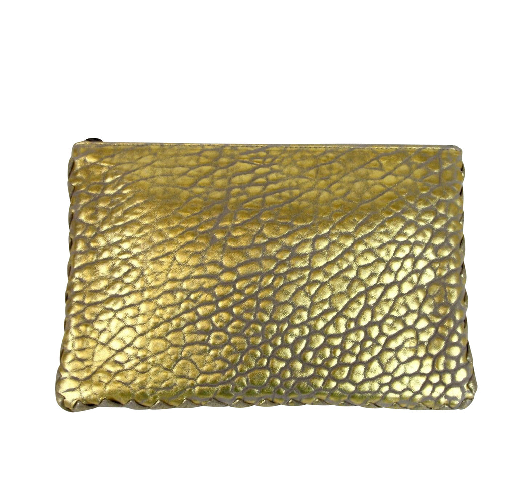 Bottega Veneta Women's Pouch Gold Leather Clutch Bag With Woven Trim 256400 1516 - LUX LAIR