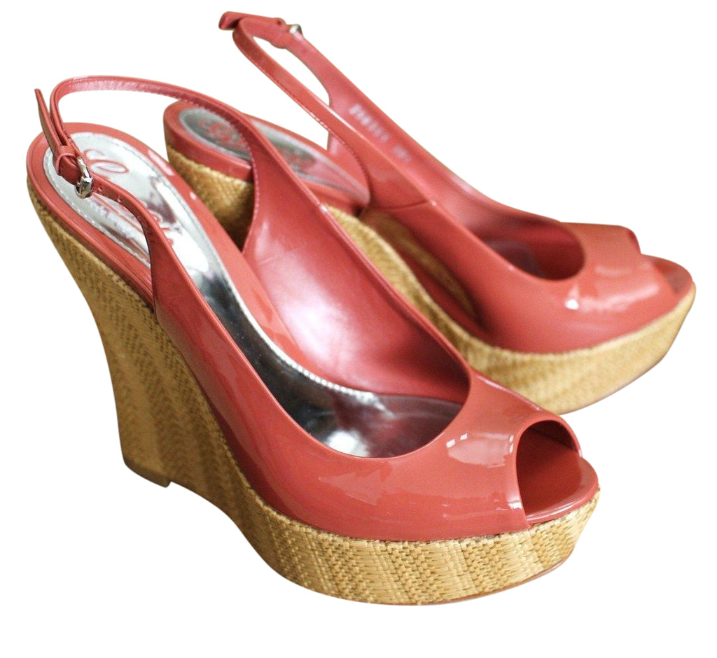 Gucci Women's Coral Patent Leather Platforms Wedges Shoes 258355