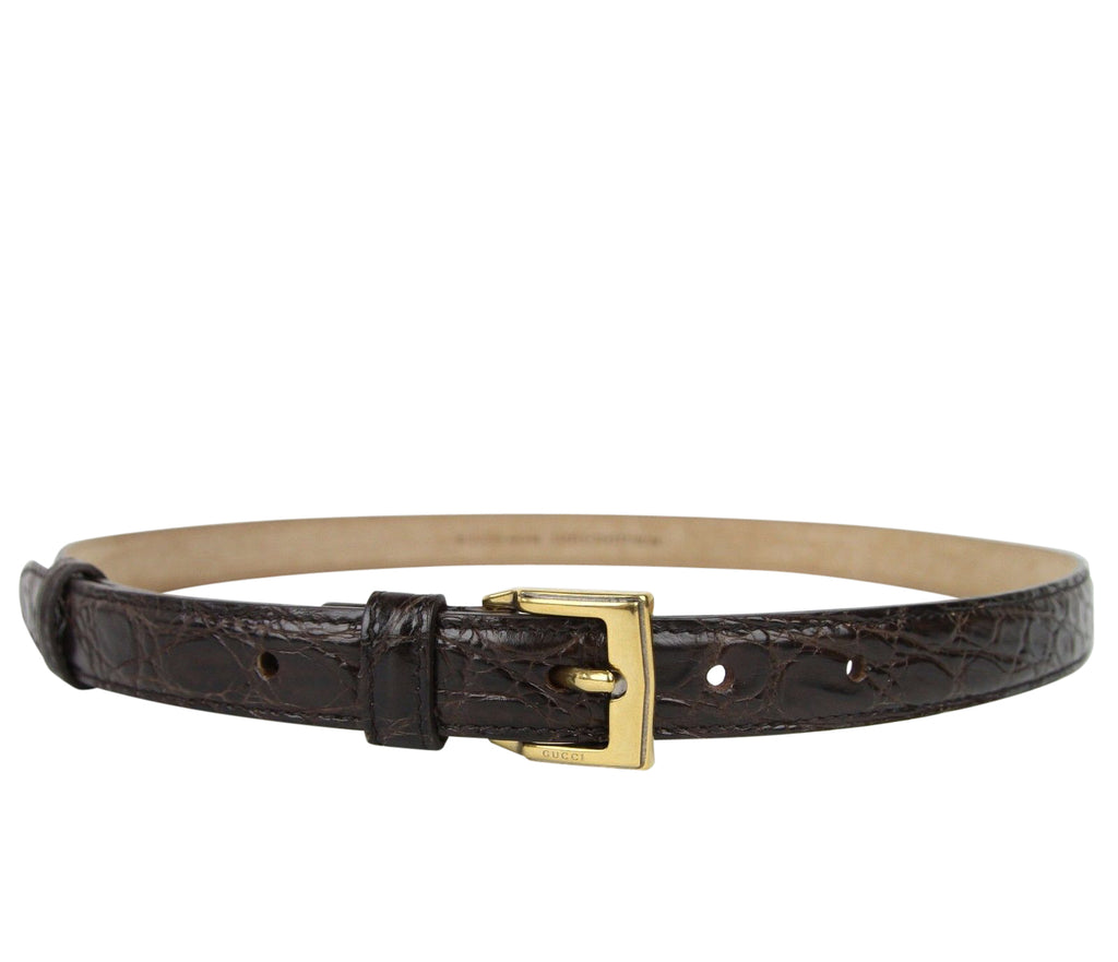 Gucci Women's Gold Buckle Dark Brown Skinny Crocodile Belt 269813 E7I0T 2140 - LUX LAIR