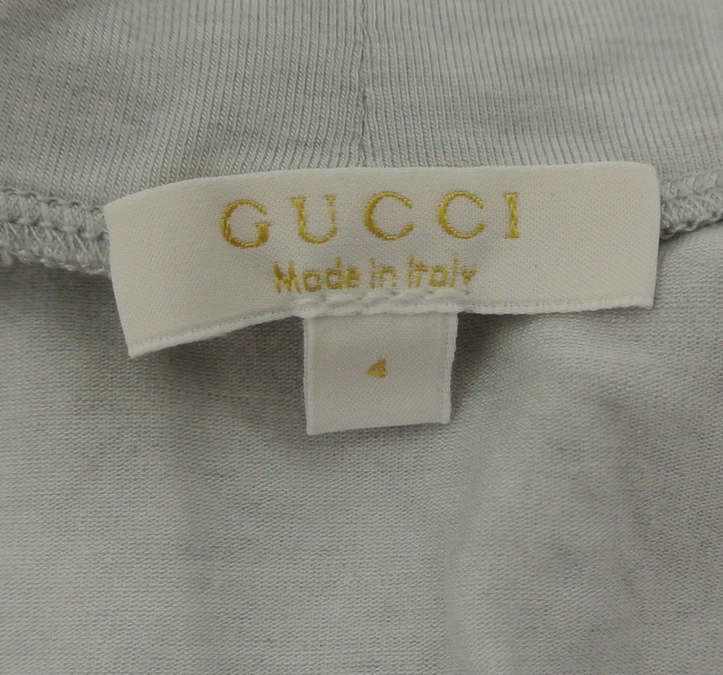 Gucci Kids Grey Long Sleeve Cashmere Turtle Neck Top Shirt With Script 271389 (Size 4)