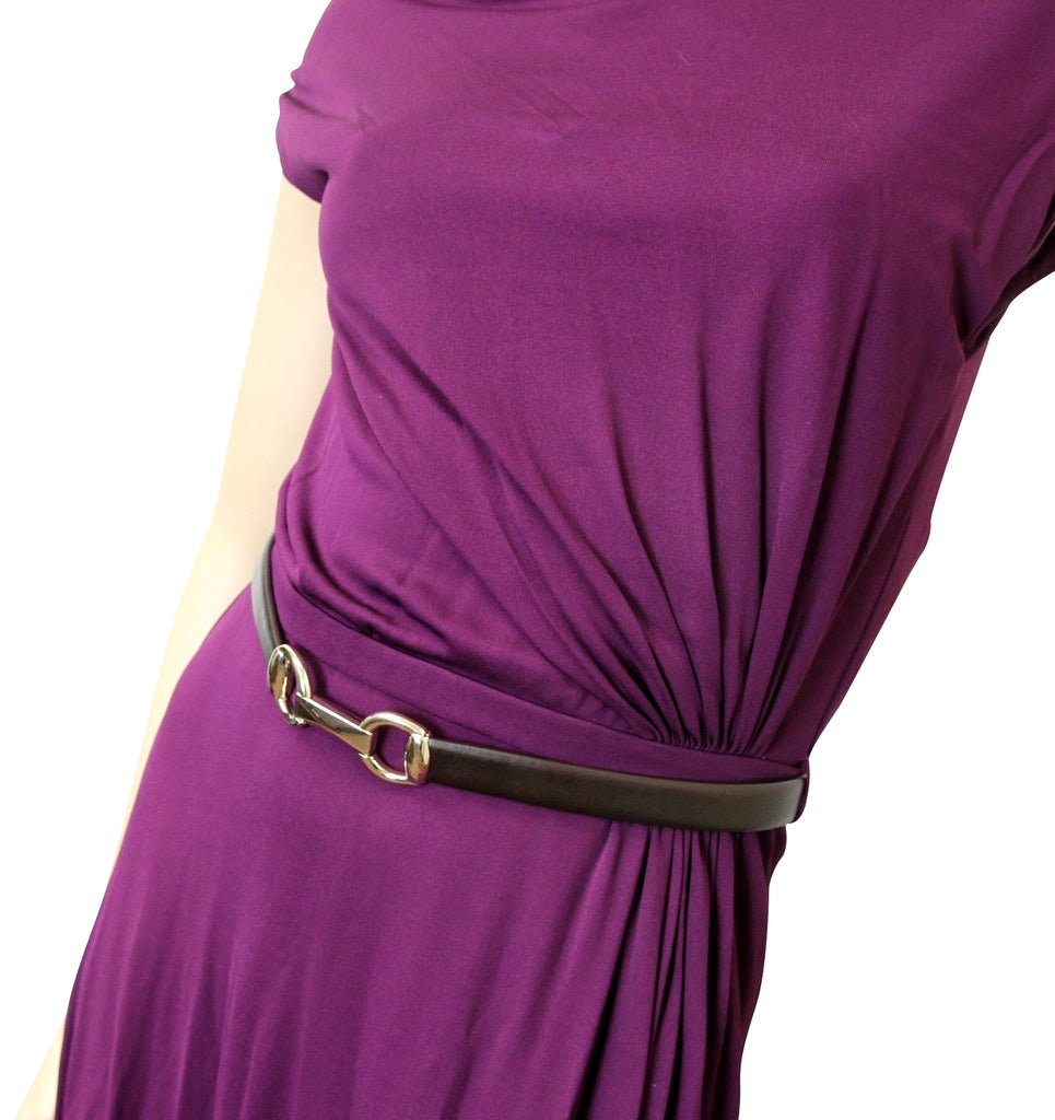 Gucci Women's Purple Rayon Runway Dress with Leather Belt 277897