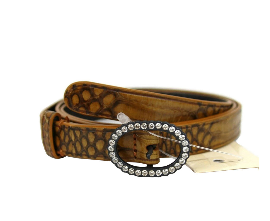 Bottega Veneta Women's Brown Python Skinny Belt 278507