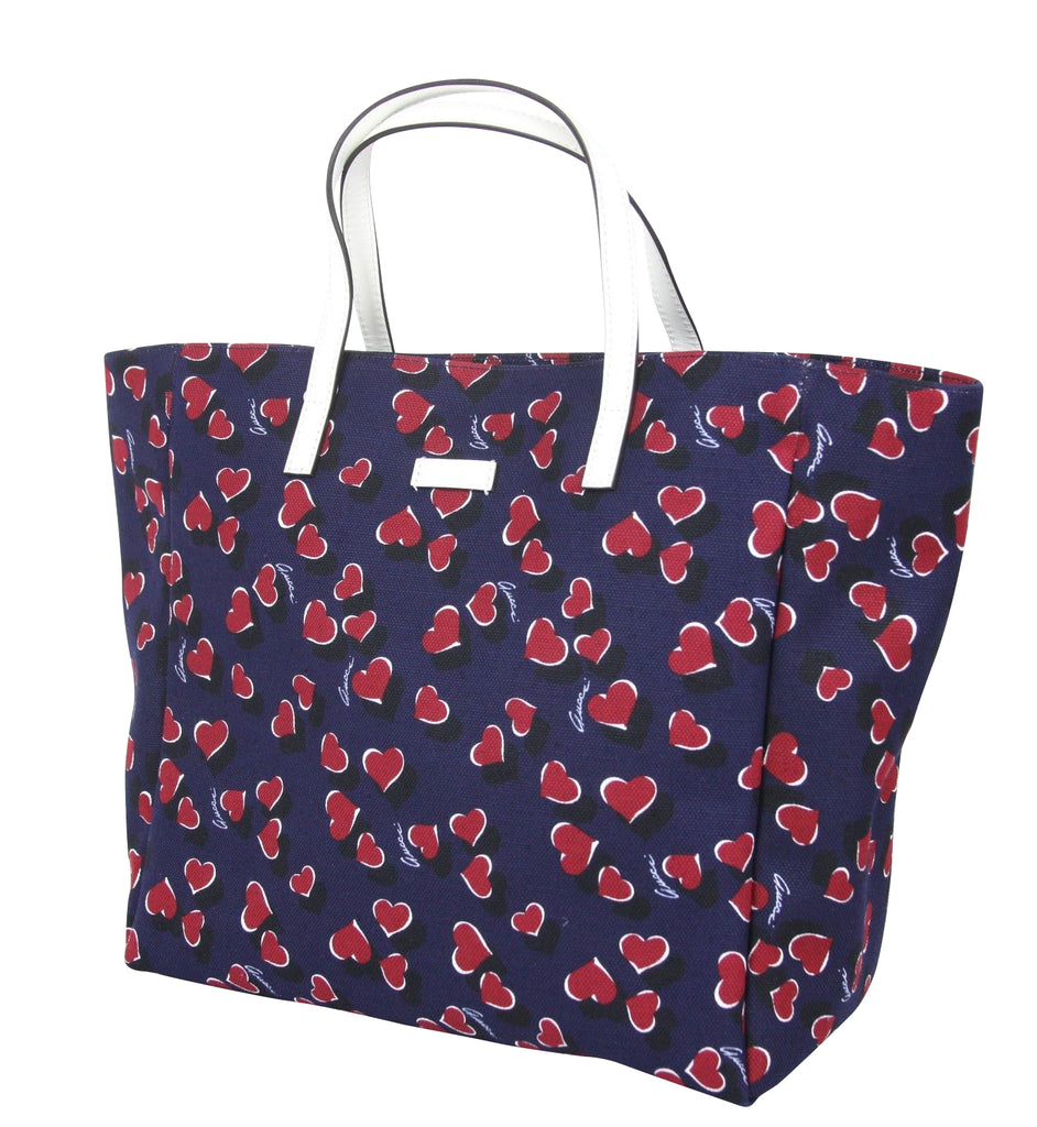 Gucci Women's Blue Canvas Handbag Heartbit Print Tote Bag 282439 4160