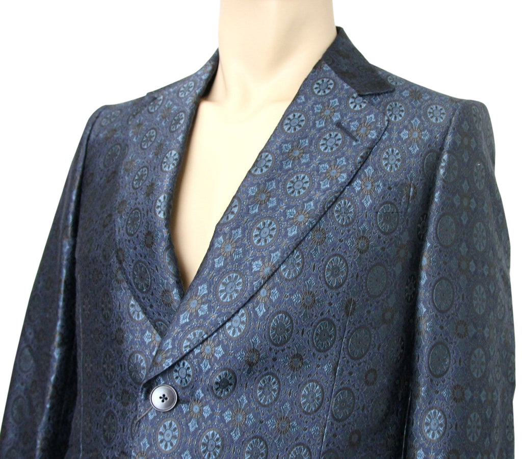 Gucci Men's Blue Floral Rose Window Jacquard Dandy Jacket 296845