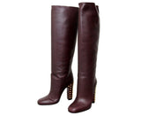 Gucci Women's Leather Knee High Studded Jacquelyne Tall Boots 297199 - LUX LAIR