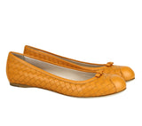 Bottega Veneta Ballet Flats Orange Leather - Side Look