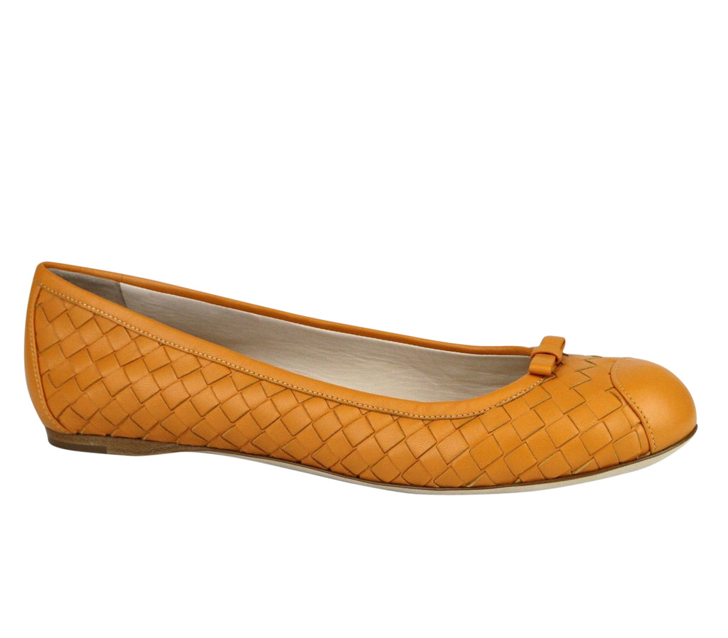 Bottega Veneta Ballet Flats Orange Leather  Flats Style