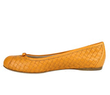 Bottega Veneta Ballet Flats Orange Leather Made In Italy