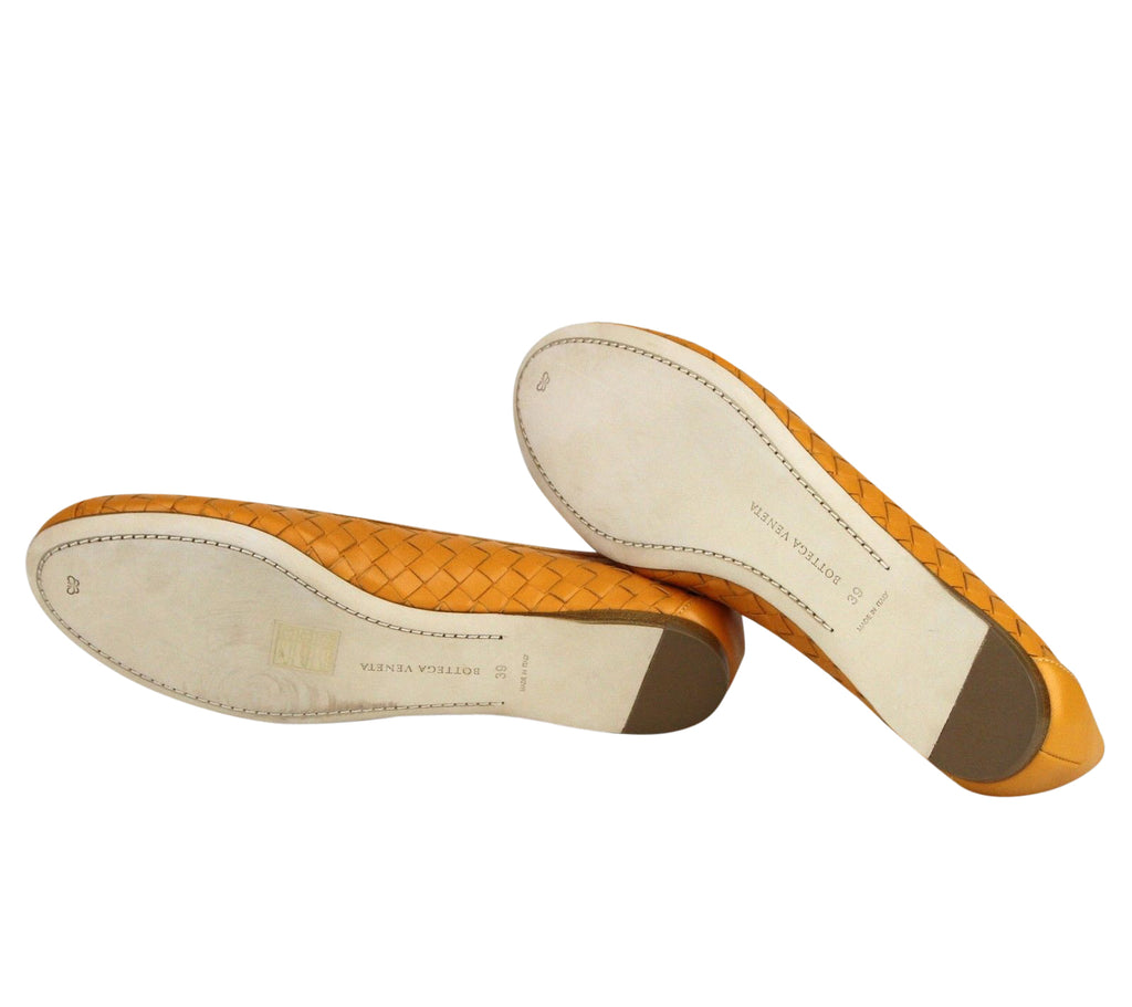 Bottega Veneta Ballet Flats Orange Color - Leather Sole