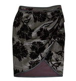Gucci Women's Velvet Flowers Purple Silk Viscose Satin Gathered Wrap Skirt 300624