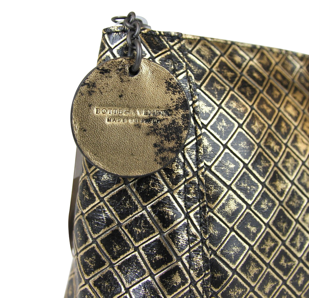 Bottega Veneta Women's Intrecciomirage Gold / Black Leather Clutch Pouch Bag 301201 8414 - LUX LAIR