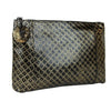 Bottega Veneta Intrecciomirage Gold/Black Leather Clutch Pouch Bag 301204 8414