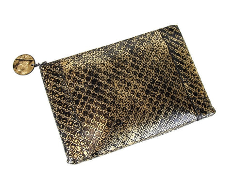 Bottega Veneta Women's Gold / Black Leather Medium Intrecciomirage Messenger Bag 298785 8414