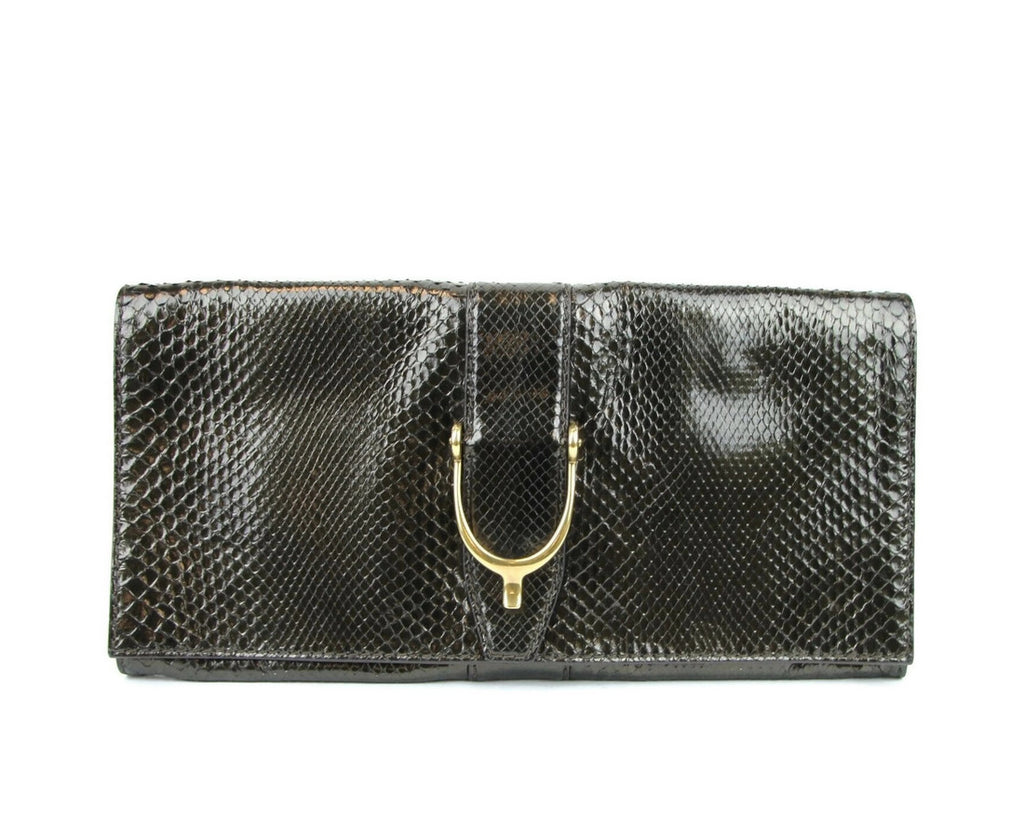 Gucci Women's Python Soft Stirrup Clutch Bag 304719 - LUX LAIR