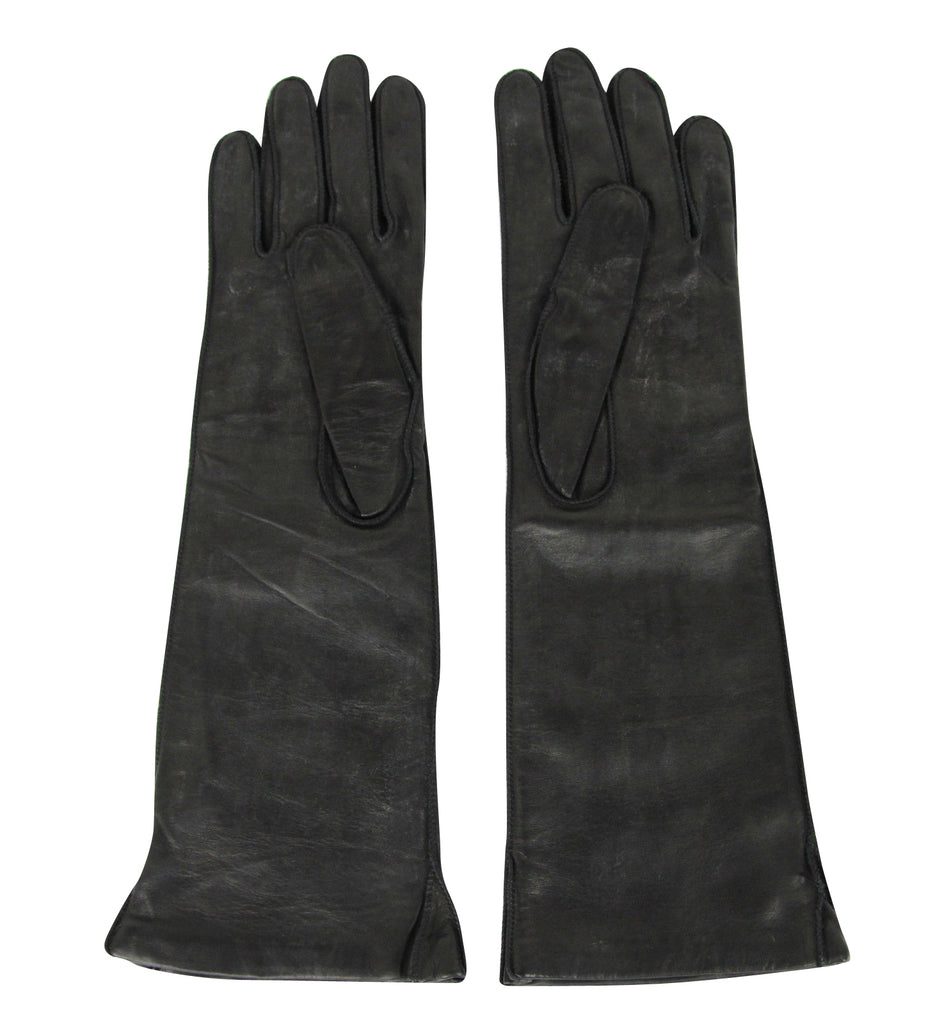 Bottega Veneta Long Gloves Black Leather - Front Look