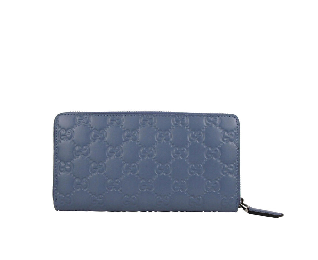 Gucci Women's Periwinkle Blue Leather Zip Around Wallet 307987 4710 - LUX LAIR