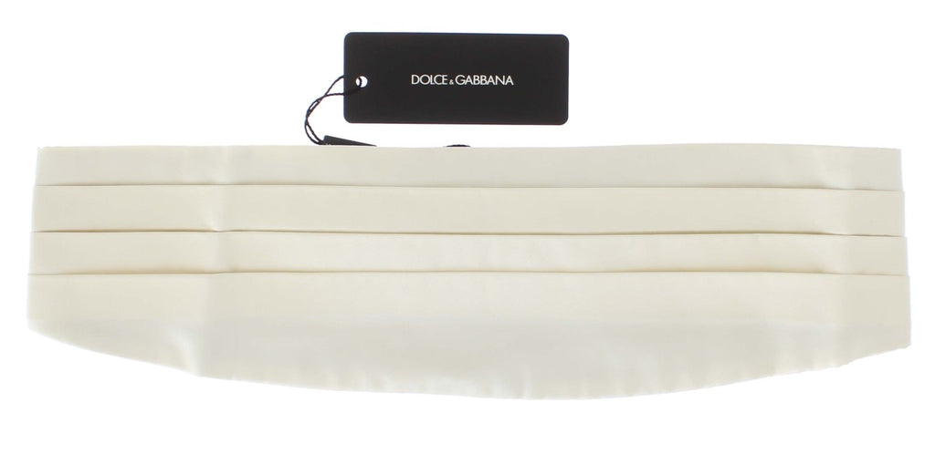 Dolce & Gabbana White Wide Belt Silk Men's Cummerbund