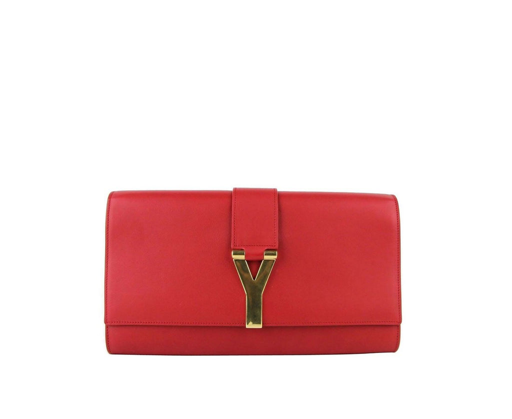 Saint Laurent Women's Classic Y Red Leather Paris Clutch 311213 6416 - LUX LAIR