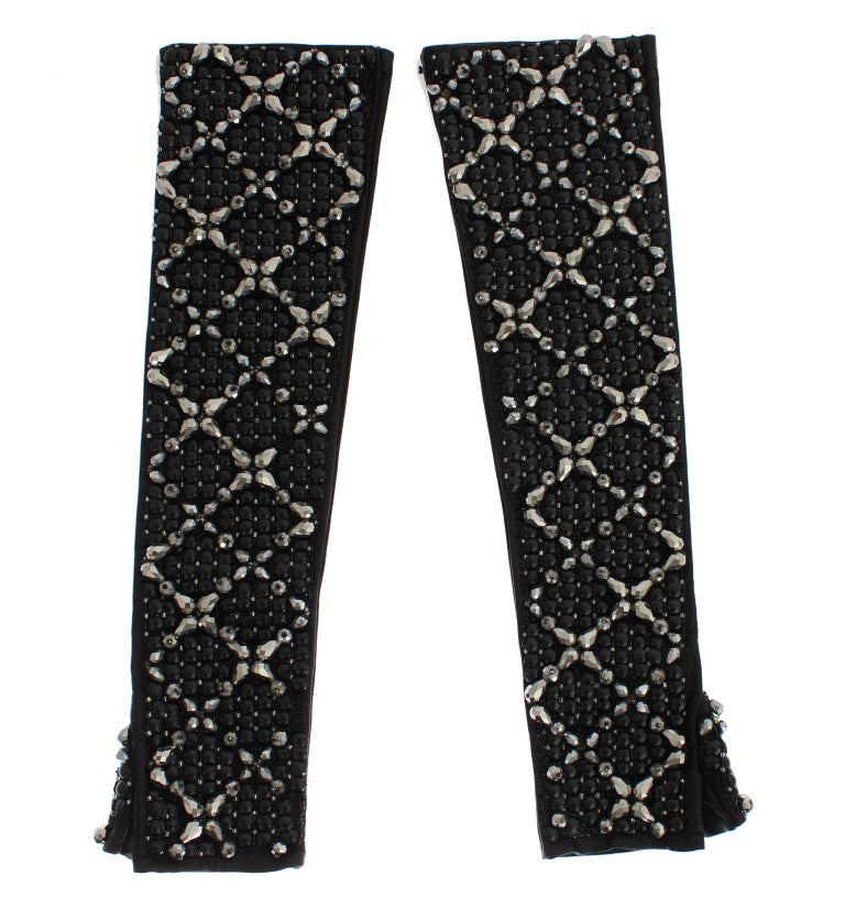 Dolce & Gabbana Black Leather Crystal Beaded Finger Free Women's Gloves - LUX LAIR