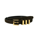 Saint Laurent Unisex Brown Suede Leather Classic Passants Belt 314629 2551 - LUX LAIR