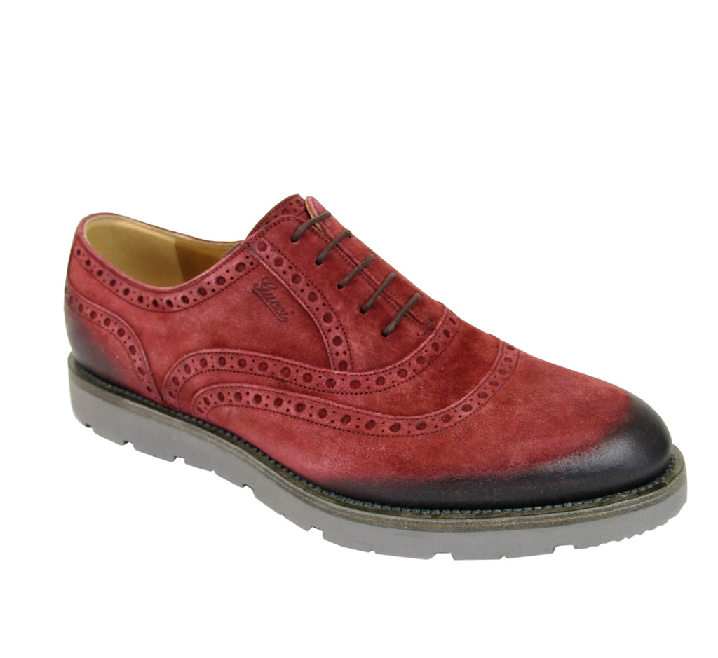 Gucci Men's Oxford Red Suede Dress Shoes With Logo 322483 6123