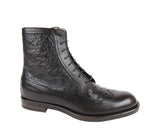Gucci Men's Leather Ostrich Lace up Ankle Boots 322508