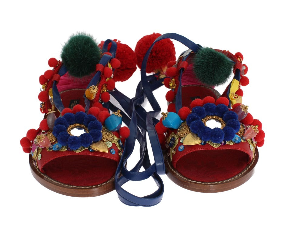 Dolce & Gabbana Pom Pom Leather Crystal Women's Sandals