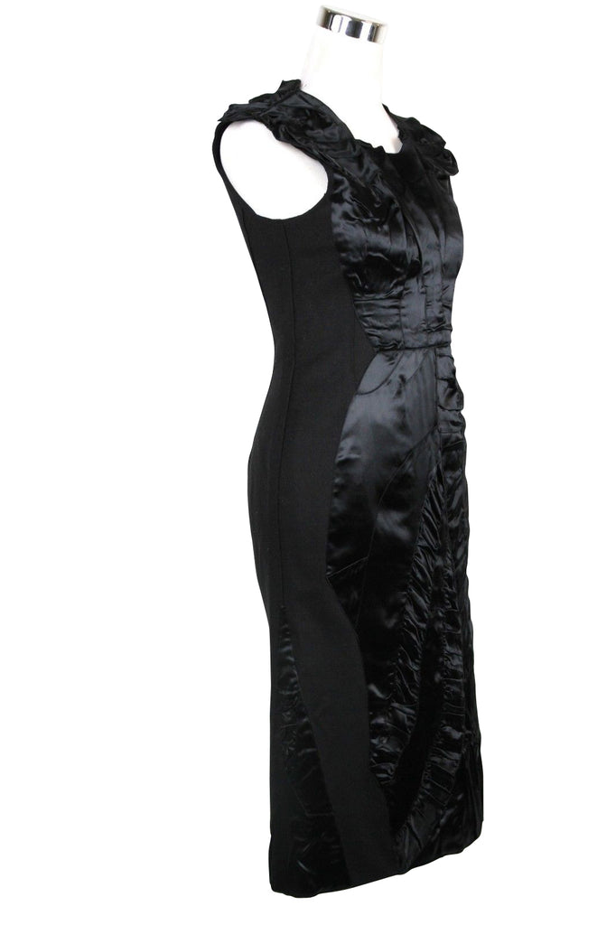 Bottega Veneta Women's Silk Pattern Black Wool Polyamide Dress Ruffle Detail 326181 1000