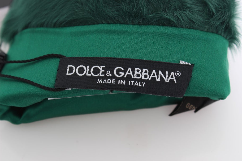 Dolce & Gabbana Green Leather Xiangao Fur Elbow Women's Gloves - LUX LAIR