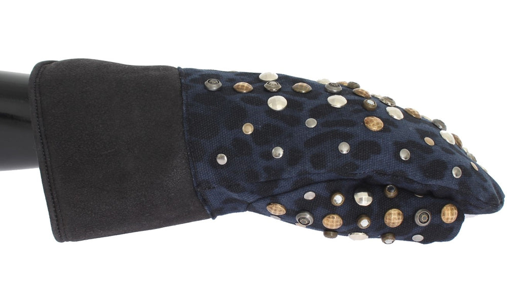 Dolce & Gabbana Gray Wool Shearling Studded Blue Leopard Men's Gloves
