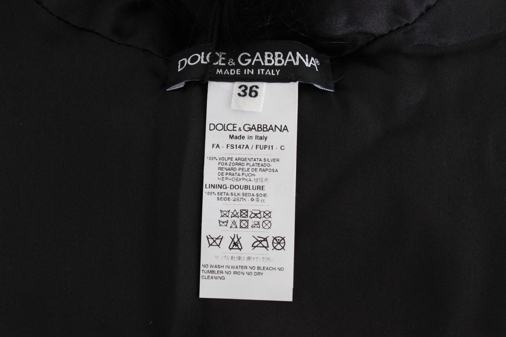 Dolce & Gabbana Black Fox Fur Collar Women's Scarf