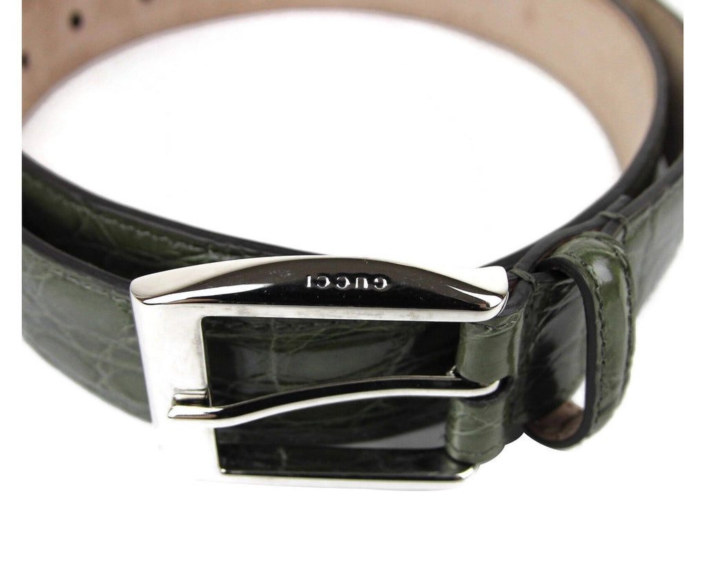Gucci Men's Crocodile Classic Square Buckle Belt 336831