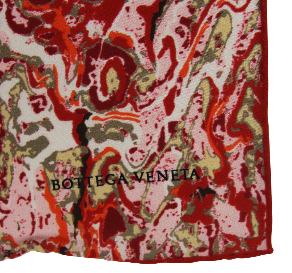 Bottega Veneta Women's Swirl Patterned Red White Black Silk Large Scarf 337765 6272 - LUX LAIR
