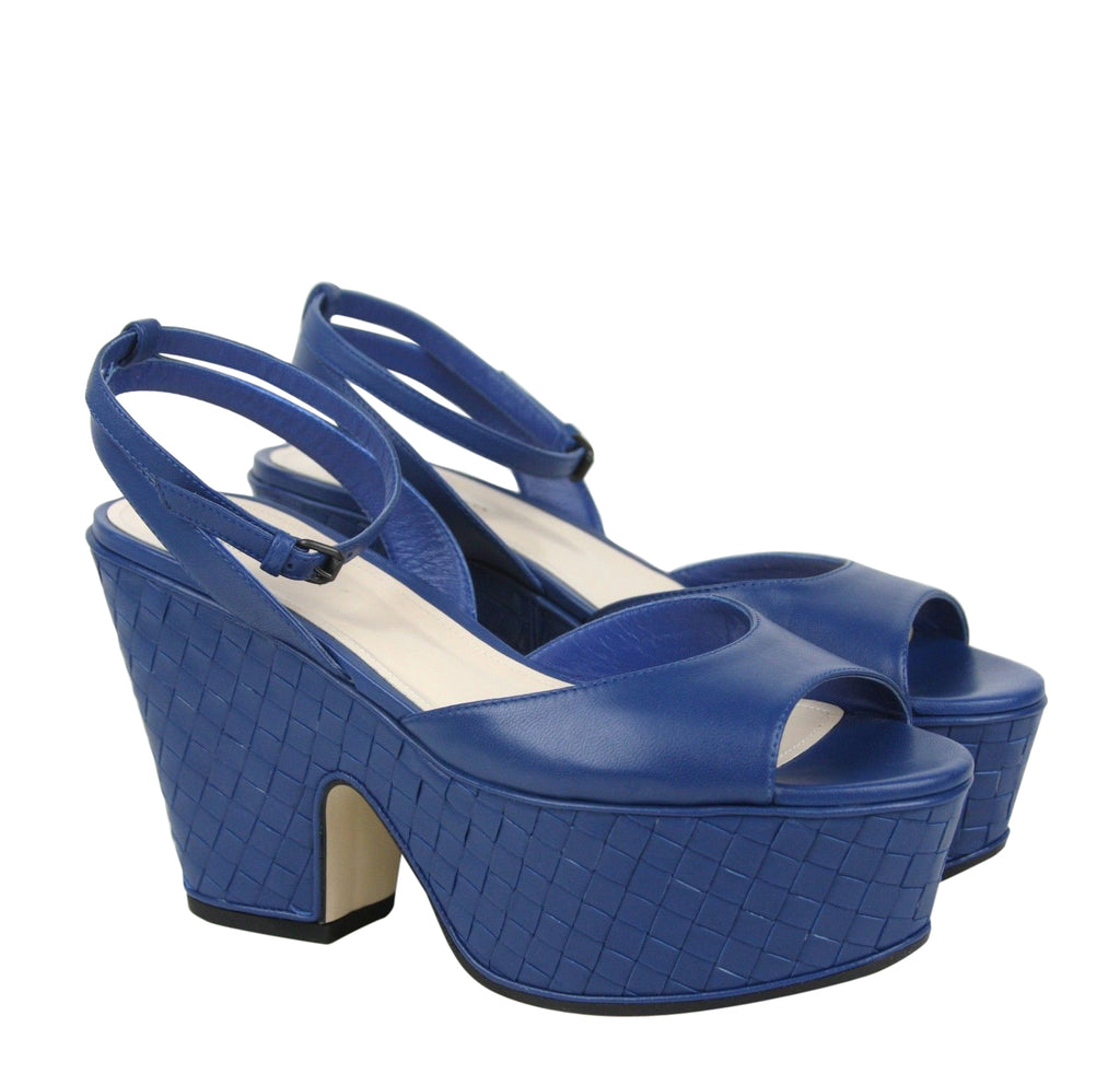 Bottega Veneta Women's Blue Woven Leather Platform Wedge Sandal 338279 4217 (39.5 EU / 9.5 US) - LUX LAIR