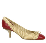 Bottega Veneta Bow Ballet Flats Red Straw Leather