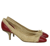 Bottega Veneta Bow Ballet Flats Beige Red Leather