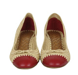 Bottega Veneta Bow Ballet Flats Beige Straw Leather