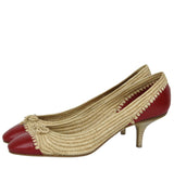 Bottega Veneta Bow Ballet Flats Straw Leather For Women