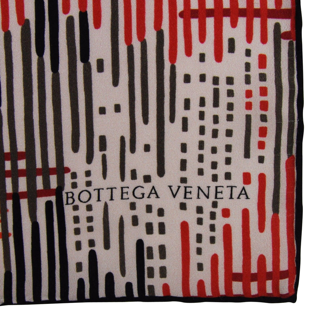 Bottega Veneta Women's Line Patterned Black White Red Silk Large Scarf 339043 6974 - LUX LAIR
