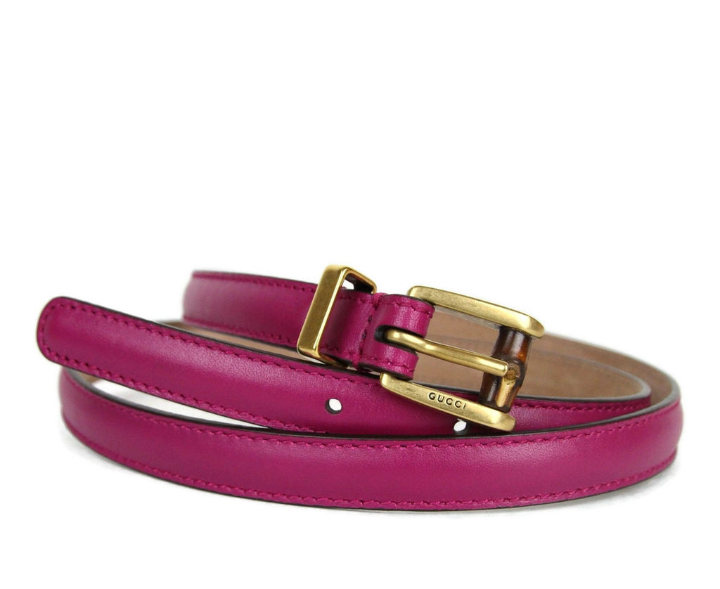 Gucci Women's Leather Bamboo Skinny Buckle Belt 339065 - LUX LAIR